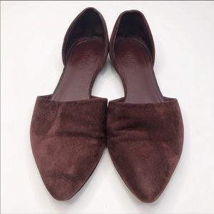 Vince Burgundy Pointed D'Orsay Suede Flats